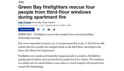 screenshot of news story Green Bay firefighters rescue four people from third-floor windows during apartment fire